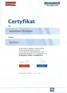 Certyfikat Deceuninck