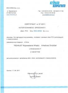Certyfikat EKO OKNA Bytom